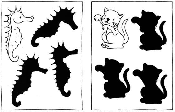 Развиваем внимание детям 4 - 6 лет - определи тень