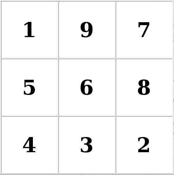 таблицы Шульте 3х3 для детей бесплатно № 3