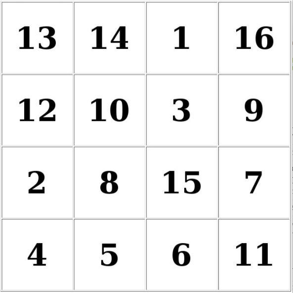 Таблицы Шульте онлайн тренажер бесплатно - таблицы 4х4 № 4