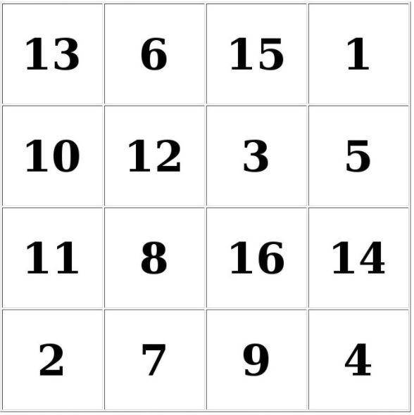 Таблицы Шульте онлайн тренажер бесплатно - таблицы 4х4 № 5