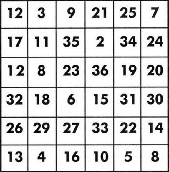таблицы Шульте 6х6