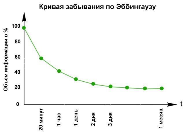 Как правильно запоминать надолго - кривая Эббингауза